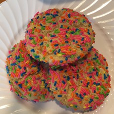 Sugar sprinkle cookie Ultimate sugar cookie made with butter. Any kids favorite.